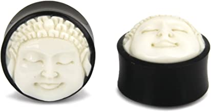 Buddha Double Flare Organic Gauges Made from Natural Horn and Bone