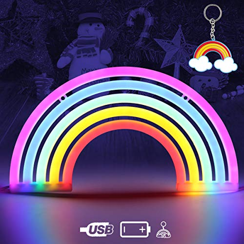 AIZESI Rainbow Night Light Rainbow Light Neon Wall Light 5 Color Rainbow Neon Sign Light Battery Or USB Operated Rainbow Led Neon Light Table Led Lights for Girls Bedroom Hanging Wall Party Decoration