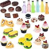 50 Alimentos en Miniatura de Juguete de Casa Muñecas Mini Alimentos Bebidas Escala 1:12 Juguetes Comida Cocina Accesorios Cocina en Miniatura Set de Comida y Vajilla (Serie Linda)