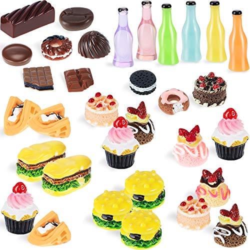 50 Stücke Miniatur Lebensmittel Mini Essen Getränk 1:12 Maßstab Hause Küche Essen Miniatur Zubehör Lebensmittel und Geschirr Set (Süß Serie)