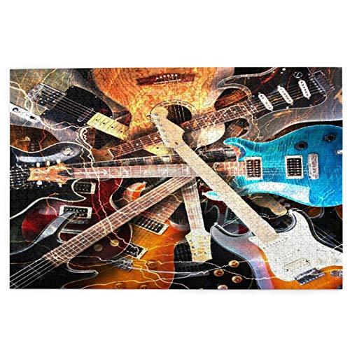 Rompecabezas de 1000 Piezas,Rompecabezas de imágenes,Guitarra eléctrica rodeada con el fondo de...