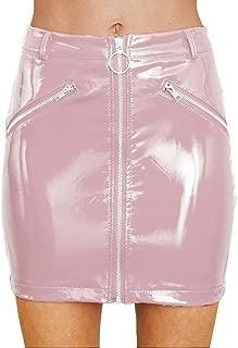 Women's Shiny Liquid Metallic Wet Look Flared Bodycon Pencil Skirts Sexy Short PU Skirts
