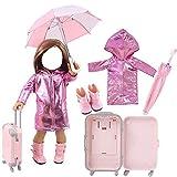 43cm vêtements de poupée Ensemble de Voyage imperméable/Parapluie/Bottes de Pluie/Valise pour 18'Fille poupées pour Enfants, B