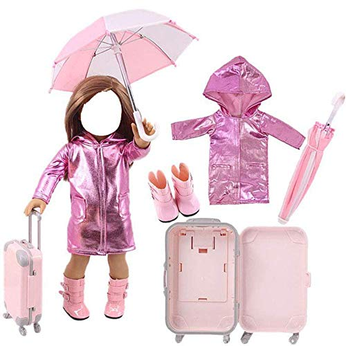 43cm Doll Clothes Travel Set Raincoat/Umbrella/Rain Boots/Suitcase for 18Inch Girl Dolls (Doll Not Include) (Yellow)
