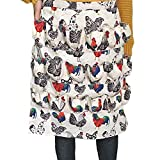 ETIUC Durable Egg Gathering Apron 18 Deep Pockets Cotton Canvas Fabric for Duck Goose Quail Dove Eggs Holder Easter Egg Collecting Apron Chicken Coop Tool Hen Rooster Print