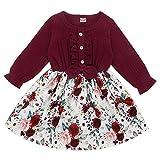 Verve Jelly Enfant en Bas âge bébé Fille Tenues à Manches Longues Robe Bouton vers Le Bas à Volants Robe de Princesse Jupe Rouge Vin, 120,3-4 Ans