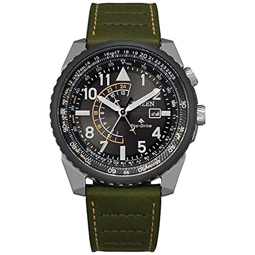 Men's Citizen Eco-Drive Promaster Nighthawk Green Leather Strap Watch BJ7138-04E