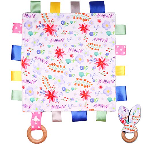 Floral Baby Security Blanket for Girls, Mini Sensory Minky Tag Blanket, Soft Touch Comforter Blanket with Tags, Bunny Ear Ring, Dotted Backing, Lovies for Babies Newborn