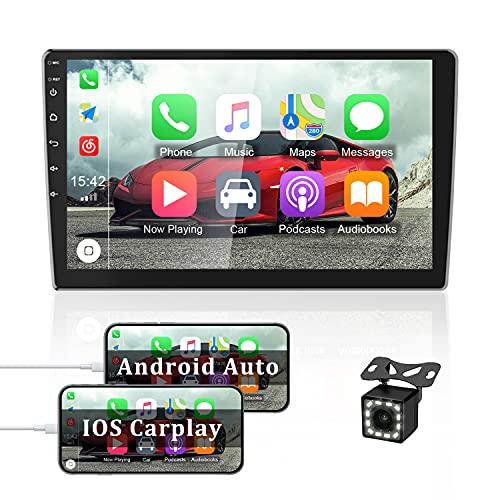 OiLiehu Doble DIN Android Autoradio para Apple Car Play, Pantalla Táctil HD 2.5D 10.1 Pulgadas con Bluetooth / Navegación / GPS / FM, Soporte WiFi Subwoofer + Cámara de Respaldo 12 Luces