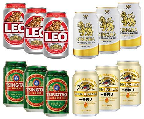Biermischkarton, Dosen, ca. 5% vol, Kirin, Singha, Tsingtao, Leo Einweg DPG