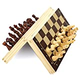 HJUIK Juego de ajedrez magnético de madera plegable de 24/29/34/39 cm, juego de ajedrez internacional portátil de madera 39 x 39 cm para adultos y niños (color 39 cm de ancho 1104a)