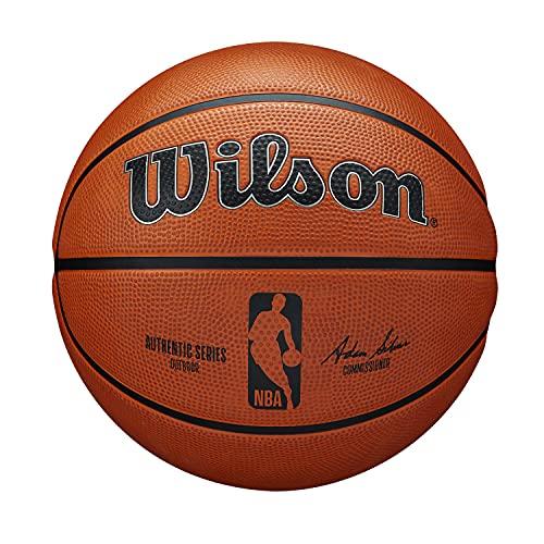 Wilson Pallone da Basket NBA AUTHENTIC SERIES, Utilizzo Outdoor, Gomma Tackskin, Misura: 7, Marrone