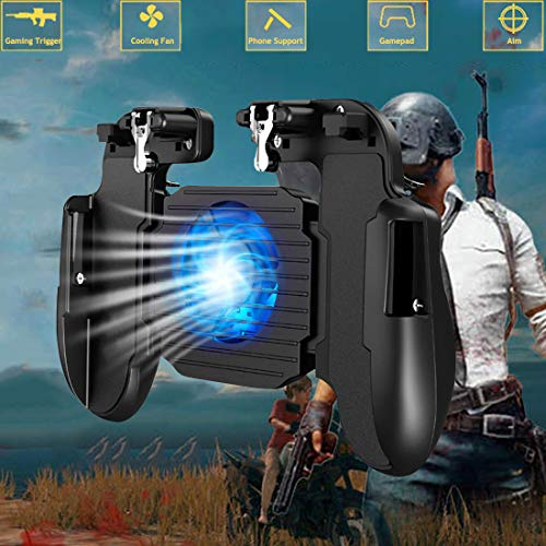 "Mobile Game Controller with Cooling Fan for Fortnite PUBG,Smartphone Game L1R1 Triggers Controller Joystick Gamepad w/Aim and Fire Buttons for 4.7-6.5"" Android iOS iPhone"