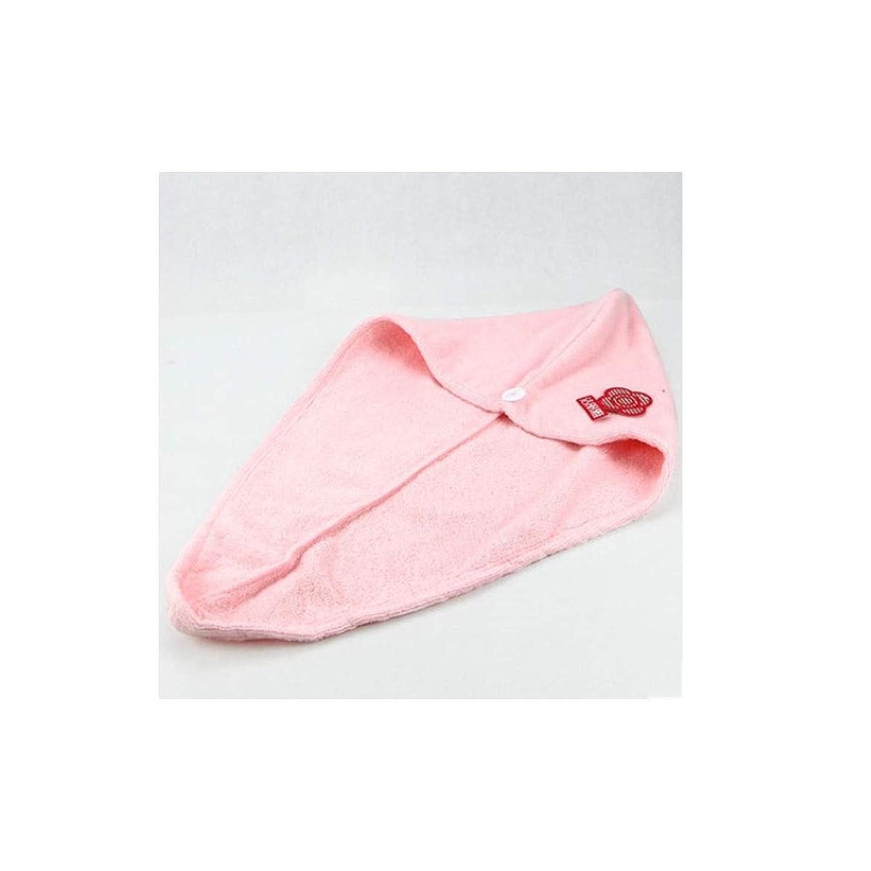 パイプ稼ぐサーマルXiaoNUO 傑李雅ドライヘアーキャップ女性、吸水アーティファクト、速乾性の純赤ロングヘアシャワーキャップ、太いかわいいシャワーキャップ 髪を乾いた状態に保ちます。 (Color : Pink)