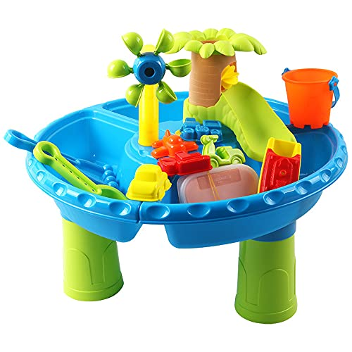Poer 22 PCS Sand Water Table for Toldder, Beach Toys Kids Sand Pit Set Beach Sandpit Table Kids Water Play Table Molds Beach Tool Kit Toddler Toys Sand Playset for Kids Boys Girls 4-6 Years Old