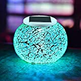 Color Changing Solar Powered Glass Ball Garden Lights, Aukora Solar Table Lights Waterproof Solar Led Night Light for Garden, Patio, Party, Yard, Outdoor/Indoor Decorations, Ideal Gift(Crack Glass)
