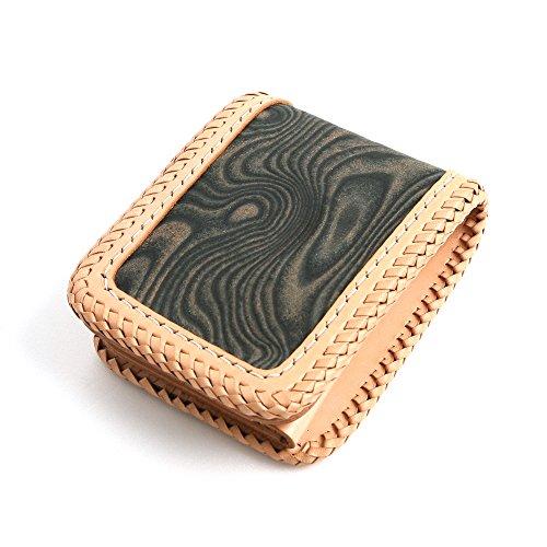 オーダーメイド 日本製 gnine スキモレザー 本革 レザー 財布 二つ折り ギフト プレゼント (FREE, ベージュ)