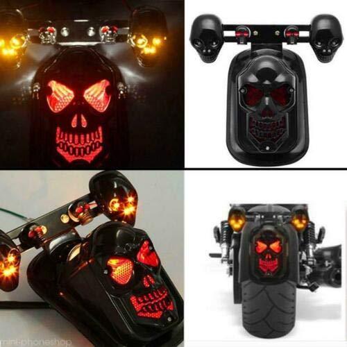 Nero Motocicletta Faro fanale posteriore con frecce teschio dark per Personalizzazione Moto, Cafe Racer ,Scrambler,custom, bobber