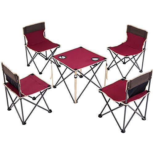 Camp Table chaises Set, chaises Table Pliante Camping Portable avec 4 Set Chaise, 2 Porte-gobelet, Sac de Transport - Tissu Oxford Nylon - pour Pique-Nique Beach Voyage