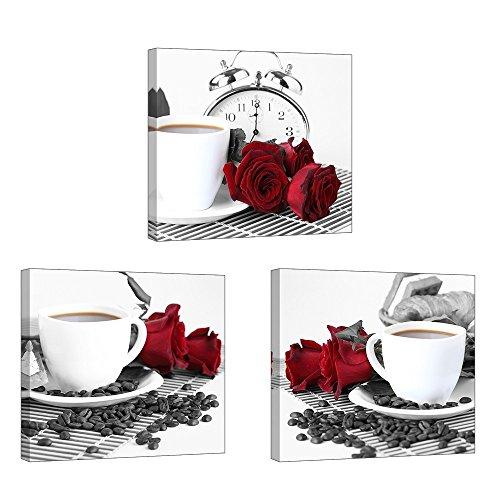 Piy Painting Wandbilder 3 Panel Rose und Kaffeetasse Bilder und Kunstdrucke auf Leinwand wasserdichte Leinwandbild Ölgemälde Deko für Wohnzimmer Schlafimmer Küche Geburtstagsgeschenk 30x30cm