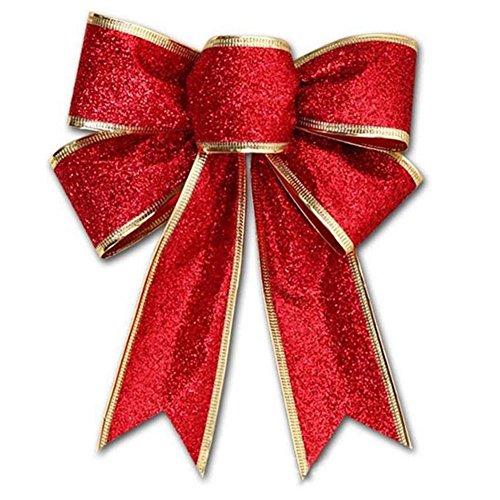 Große Weihnachtsschleifen, Glitzer-Hängeornamente Schleife, Geschenkschleife, Schleife für Weihnachtsbaum, Party Free Size rot