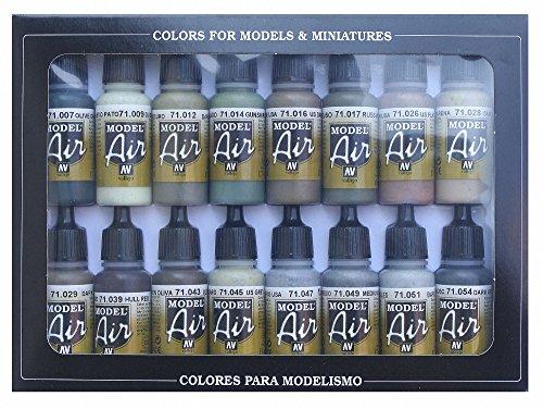 Vallejo Model Air WWII Allies zestaw farb akrylowych do pędzla powietrznego, różne kolory (16 szt.)