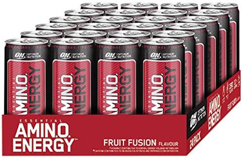 Optimum Nutrition ON Amino Energy Ready to Drink RTD RTDs 24 x 330ml BCAA BCAAs (Lemon Lime)