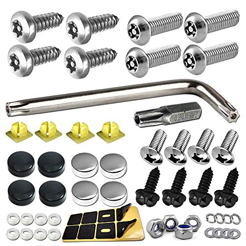 Aootf License Plate Screws Anti Theft - Stainless Steel Security Screws License Plate Bolts Fasteners,Tamper Proof Protection for License Plates on Cars Trucks, Black Chrome Caps -58PC Ultimate Set