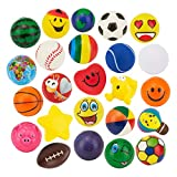 24 Stress Balls - Bulk Pack of 2.5' Stress Balls - Treasure Box Classroom Prizes, Party Favors, Or Just to De-Stress (2 Dozen) Assorted Designs and Colors for Kids, Adults and Teens