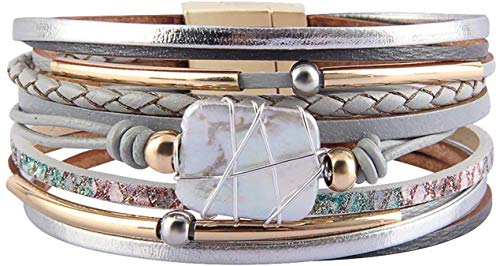 Fesciory Leopard Bracelet for Women Wrap Multi-Layer Leather Bracelet Magnetic Clasp Cuff Bangle Jewelry(Gray Leather(Pearl))