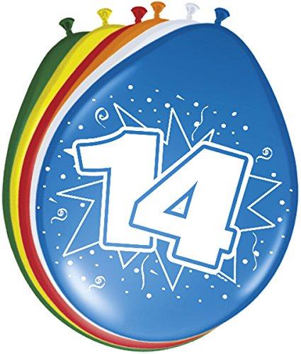 Folat 08215 14. Geburtstag Ballons 30 cm-8 Stück, Mehrfarbig