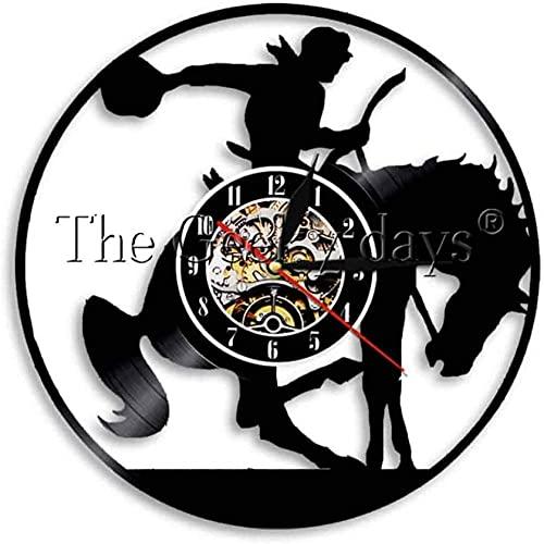 Reloj de pared de vinilo con diseño de vaquero occidental de 1 pieza lámpara de pared de caballos, silla de montar caballo reloj decorativo vintage de pared de 30,5 cm