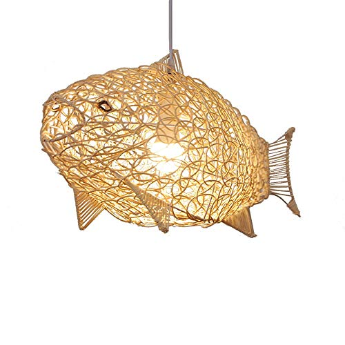 ZGZRXGY Estilo asiático Simple Simple Chandelier de peces Araña Restaurante japonés Decoración Colgante Iluminación de bambú Art Rattan Mimbre Mano Drop Light Hogar Habitación para niños Lámpara Vivid
