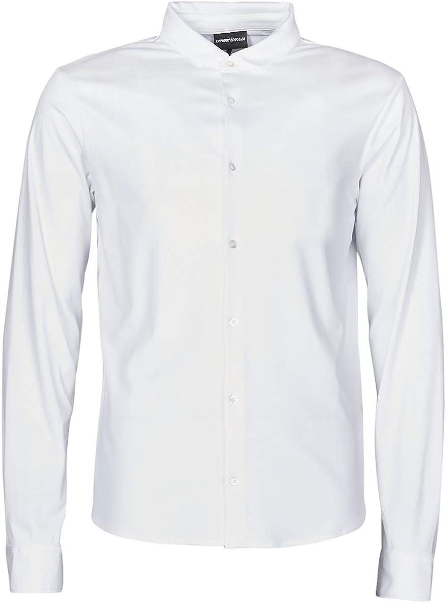 Emporio Armani 8N1CH6 Cotton Buttoned Down White Long Sleeve Polo Shirt