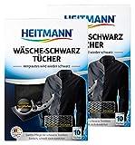 Heitmann Limpia Ropa Negra (10 Toallitas) - Pack de 2: Paños Lavadora de Limpieza Cuida Tejidos de...