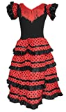 La Senorita Spanish Flamenco Dress Costume - Girls/Kids - Black/Red (Size 4-3-4 Years, Black red)