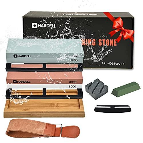 Knife Sharpening Stone Set,400/1000 and 3000/8000 Grit Whetstone Knife Sharpener Kit with Leather Razor Strop, Leather Honing Strop, Polishing Compound, Bamboo Base, and Flattening Stone by HARDELL
