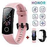 HONOR Band 5 Fitness Tracker Pulsmesser AMOLED 0,95 Zoll Smart Watch 5ATM wasserdichte Bluetooth 4.2 (Rosa)