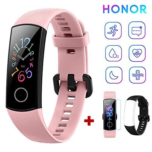 HONOR Band 5 Fitness Tracker Monitor de Ritmo cardíaco (AMOLED 0.95 Pulgadas Reloj Inteligente,5ATM Impermeable,Bluetooth 4.2) Rosa