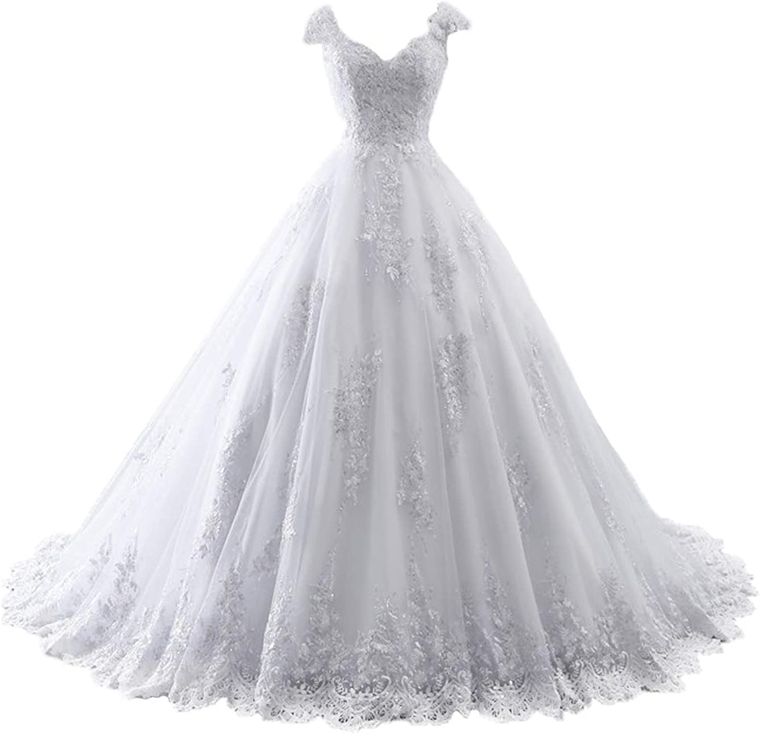 Cdress Ball Gown Wedding Dresses Lace Appliques Bridal Gowns VNeck Cap Sleeves for Bride