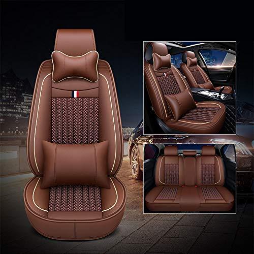 カーシートカバーアイスシルク素材クッションフロントとリアフルセットフィットVWジェッタパサートトゥアレグCC GLI GTIゴルフティグアンに最適,ブラウン
