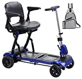 Drive ZooMe Flex Ultra Compact Folding Travel 4 Wheel Scooter, Blue & Free Medical Utility Grey Bag! - #Flex