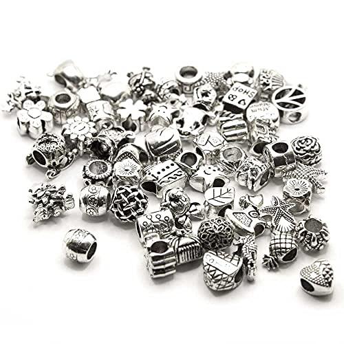 EVM 10 PCS. Accesorios de encanto Plata tibetana de cuentas para pulseras de bricolaje perlas colgantes accesorios creación joyería joyería colgantes collares (10 encanto surtido)