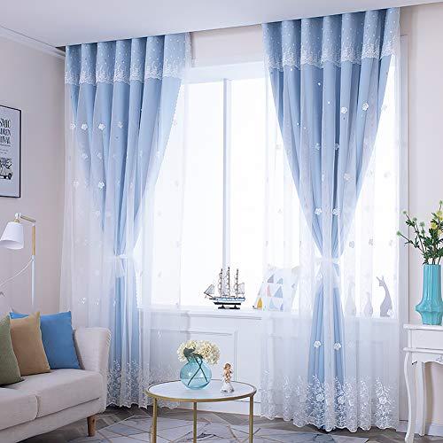Doppel-Schicht Spitze Verdunklungsvorhänge,Schattierung Hohlstern Wohnzimmer Schlafzimmer Vorhang,Bay-Fenster Vorhänge,1stk Blau 250x270cm (98x106inch)