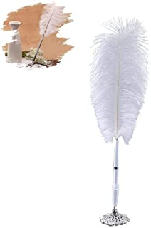 Quill Pen White Ostrich Feather Signing Pen Wedding Reception Guest Pen with Silver Metal Base