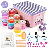 36 Colors Air Dry Clay Kit for Kids, Modeling Clay Ultra Light Magic Clay, DIY Handmade Art Toys with Carton Car Storage Box (Pink)