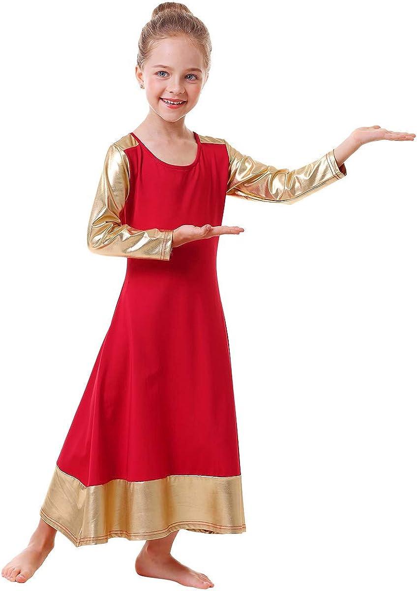 IBAKOM Praise San Francisco Mall Dance Dress Regular discount for Girl Liturgical Full Gold Metallic