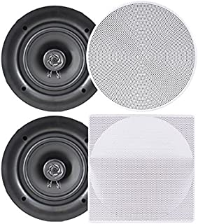 Pyle Ceiling Speakers - Stereo Home Theater Speakers - in Wall Speakers Flush Mount - 8-Inch White 250 Watt, 2-Way, (Pair) (PDIC86)