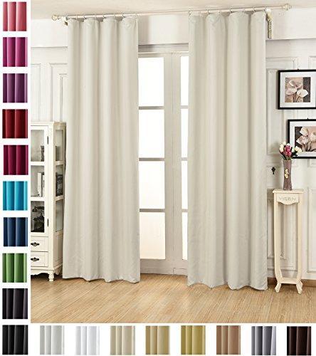 WOLTU VH5869cm, Vorhang Gardinen Blickdicht mit kräuselband für schiene, Leichter & weicher Verdunklungsvorhang für Wohnzimmer Schlafzimmer Tür, 135x225 cm, Crème, (1 Stück)