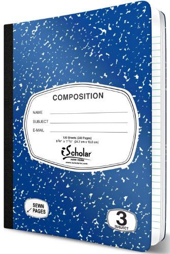iScholar 3-Subject Colored Marble Composition Book, 120 Sheets, Wide Ruled, 9.75 x 7.5-Inches, Cover Color May Vary (18113)